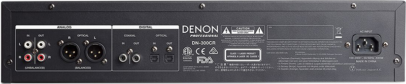 Denon DN-300CR Professional CD Recorder, back panel
