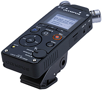 Olympus LS-14 Handheld Portable Audio Recorder, shown on clip stand