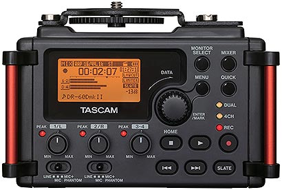 Tascam DR-60DMKII 4-Track Portable Recorder/Mixer, front panel