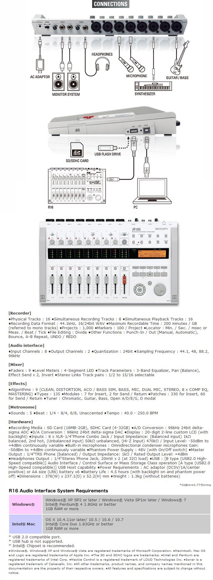 Zoom R16 Portable 16-Track Recorder Mixer Interface Controller, connections & specifications